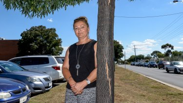 Tania Karikis outside Melton Primary school, one kilometre away from Don Nardella's electoral office.