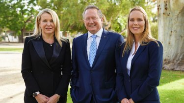 Fortescue's new CEO, Elizabeth Gaines, chairman Andrew Forrest and deputy CEO Julie Shuttleworth.