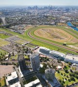 An aerial artist's impression of the four apartment towers - one at left, three at bottom - at Flemington Racecourse.