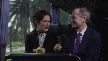 Crabb and Mr Shorten on Labor campaign bus.