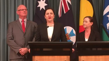 Corrective Service Minister Bill Byrne, Premier Annastacia Palaszczuk and Attorney-General Yvette D'Ath announce changes to youth detention in Queensland.