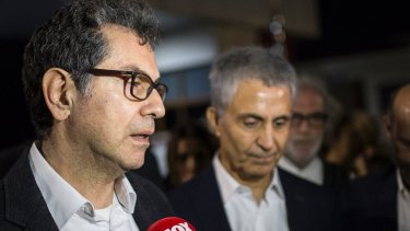 Kadri Gursel, speaks to the media after his release from Silivri prison outside Istanbul.