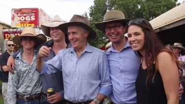 Prime Minister Malcolm Turnbull, wearing an Akubra, in a still from a video released on his Facebook page.