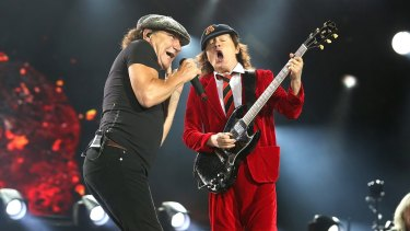 AC/DC's Brian Johnson and Angus Young on stage during the Rock or Bust tour.
