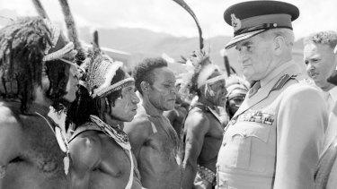 Sir William Slim (right) meeting Papuan highlanders at Goroka, 1956.