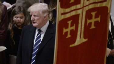 US President Donald Trump attends the National Prayer Service at the National Cathedral in Washington on his first day in office.