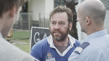 Angry confrontation ... Brendan Cowell and Steve Bastoni.