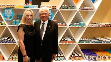 Blackmores CEO Christine Holgate and chairman Marcus Blackmore at the launch of the company's flagship store at Westfield Bondi Junction in Sydney.