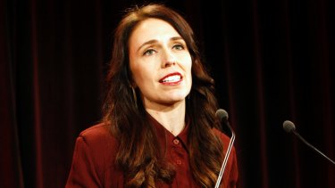New Zealand's Labour Party leader Jacinda Ardern talks to hundreds of supporters after election results.