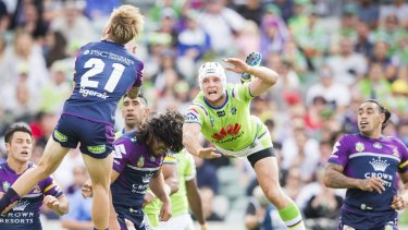 Captain Jarrod Croker of the Canberra Raiders gets airborne against Melbourne last year.