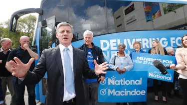 NZ Prime Minister Bill English campaigning in Hamilton this week.