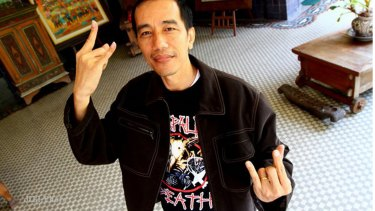 Joko Widodo wearing a Napalm Death T-shirt.