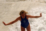 Maggi, who raced on the first day that women competed in Bondi Icebergs swimming races in 1995. Seen here at the pool in 1996.