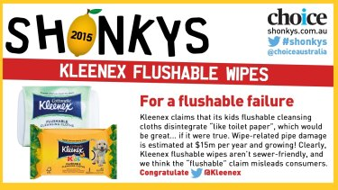Kleenex Flushable wipes earned a Choice Shonky Award in 2015, prompting an ACCC investigation.