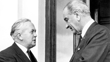 British Prime Minister Harold Wilson meets American President Lyndon B. Johnson at Government House, Melbourne after the memorial service for Harold Holt in December, 1967.