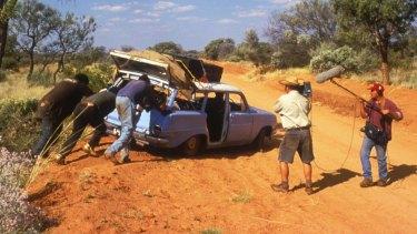 A film crew records an outback breakdown for <i>Bush Mechanics</i>.