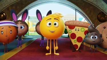 In The Emoji Movie Gene Meh (centre) has no limit to his emotions - a big problem when you're an emoji.