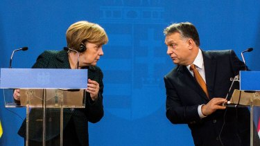 At odds over democracy: German Chancellor Angela Merkel and Hungarian Prime Minister Viktor Orban in Budapest, Hungary.