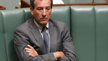 On his own: Mal Brough during question time on December 3.