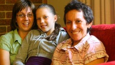 Brenna Harding with mums Vicki Harding, and Jackie Braw.