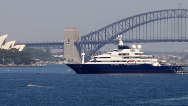 Super yacht Octopus has moored in one of the best harbour viewing spots for the New Year's Eve fireworks.