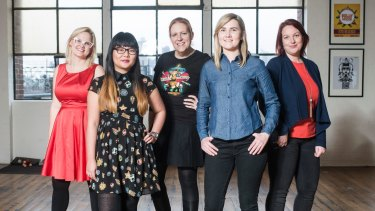 From left, Girl Geek Academy founders Sarah Moran, Lisy Kane, April Staines, Tammy Butow and Amanda Watts.