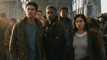 Dylan O'Brien, Thomas Brodie-Sangster, Giancarlo Esposito, Dexter Darden and Rosa Salazar in <i>Maze Runner: The Death Cure</i>.
