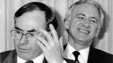 John Howard with bitter rival Andrew Peacock in 1984.