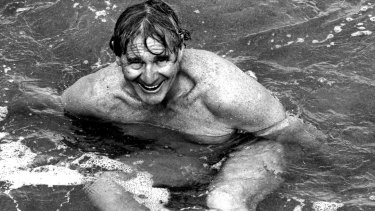 Graham Cole, organiser of the Cole Classic swimming event, at Bondi in 1989.
