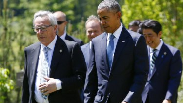 European Commission President Jean-Claude Juncker, and US President Barack Obama during the G7 summit in Germany on Sunday.