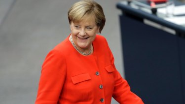 German Chancellor Angela Merkel at the German Federal Parliament, Bundestag, at the Reichstag building in Berlin.