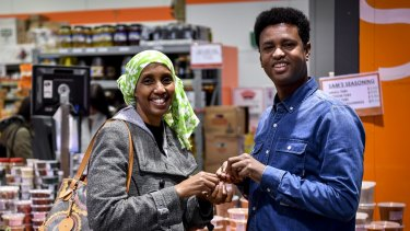 Mariam Issa and Abdi Aden at the Dandenong Market.