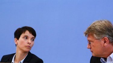 Frauke Petry, left, with fellow party leader Joerg Meuthen in Berlin in September last year.