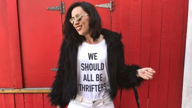 Hannah Klose, from Never Ever Pay Retail, wears a head-to-toe thrifted outfit. Her T-shirt is an op shop-sourced blank that she had printed.