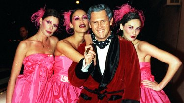 Game show host Larry Emdur channelled Hugh Hefner, turning up with a bevy of his