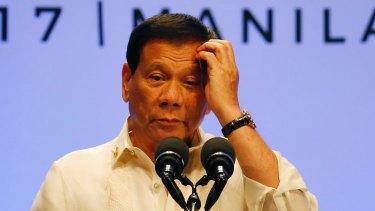Philippine President Rodrigo Duterte speaks at the conclusion of the 30th ASEAN Leaders' Summit in Manila.