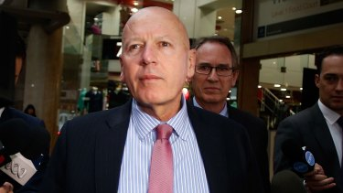 Chris Hartcher leaves the ICAC after giving evidence in 2014.