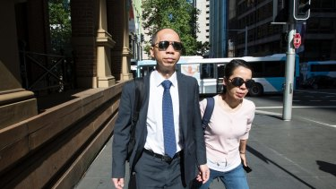 Robert Xie with his wife Kathy Lin during the final days of his fourth trial.