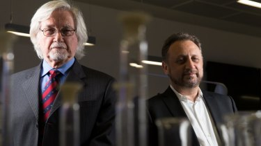 Passing the baton: UCLA's Professor Reggie Edgerton (left) with Professor Bryce Vissel at UTS this week.