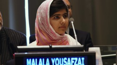 Malala Yousafzai at the United Nations General Assembly in 2013.