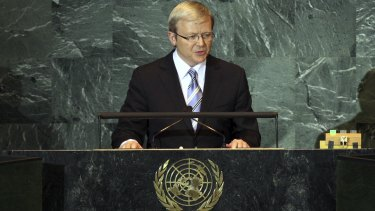 Kevin Rudd makes his speech to the General Assembly of the United Nations during his time as prime minister.