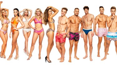The initial cast of Love Island Australia: From left, Natasha, Tayla, Erin, Cassidy, Millie, Charlie, Eden, Justin, Grant and Josh.