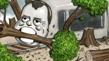 """The """"light"""" rail consumes all before it, for dubious benefit. Illustration: John Shakespeare"""