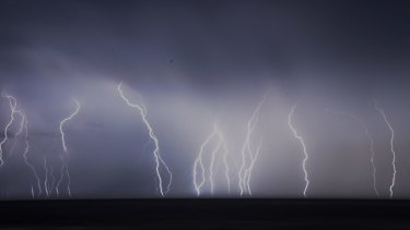 An intense lightning barrage over the northern beaches of Sydney on Thursday.
