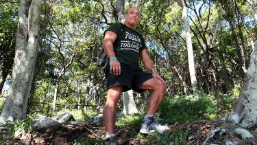 Matt Hall preparing to walk the Kokoda Track at Burleigh Heads National Park.