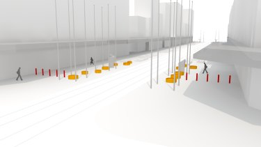 An artist's impression shows the permanent bollards, in red, and the planter boxes, in yellow.