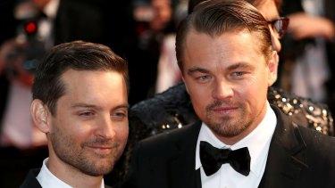 Actors Tobey Maguire and Leonardo DiCaprio.