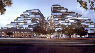 The original towers proposed by Gurner in Queens Parade, Fitzroy North, also designed by Koichi Takada Architects.