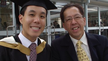 Curtis Cheng, pictured with his son Alpha, was shot dead as he left the Parramatta police headquarters on October 2, 2015.