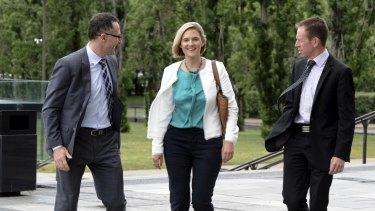 Greens Senator Richard DiNatale, ACT Senate candidate Christina Hobbs and ACT Greens MLA Shane Rattenbury.